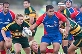 Risiate Tadulala looks to get pass away during the Counties Manukau Premier Club Rugby game between Ardmore Marist and Pukekohe played at Bruce Pulman Park on Saturday April 17th..Pukekohe won the game 25 - 0 after leading 15 - 0 at halftime.