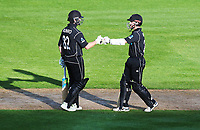 Blackcaps Colin Munro & Kane Williamson touch gloves during the third ODI cricket match between the Blackcaps & England at Westpac stadium, Wellington. 3rd March 2018. © Copyright Photo: Grant Down / www.photosport.nz
