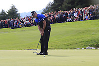 Scott Hend (AUS) putts on the 18th hole during Sunday's Final Round of the 2017 Omega European Masters held at Golf Club Crans-Sur-Sierre, Crans Montana, Switzerland. 10th September 2017.<br /> Picture: Eoin Clarke | Golffile<br /> <br /> <br /> All photos usage must carry mandatory copyright credit (&copy; Golffile | Eoin Clarke)