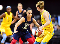 Washington, DC - June 15, 2018: Chicago Sky guard Courtney Vandersloot (22) is guarded by Washington Mystics guard Kristi Toliver (20) during game between the Washington Mystics and Chicago Sky at the Capital One Arena in Washington, DC. (Photo by Phil Peters/Media Images International)