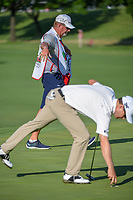 Zach Johnson's (USA) caddie, Damon Green flaps his birdie wings after Johnson sunk his birdie putt on 11 during round 2 of the Fort Worth Invitational, The Colonial, at Fort Worth, Texas, USA. 5/25/2018.<br /> Picture: Golffile | Ken Murray<br /> <br /> All photo usage must carry mandatory copyright credit (&copy; Golffile | Ken Murray)