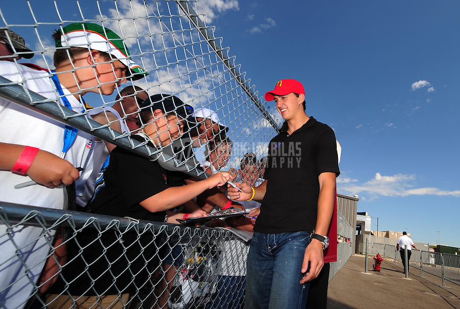 Jun. 22, 2008; Newton, IA, USA; IRL driver Graham Rahal prior to the Iowa Corn Indy 250 at the Iowa Speedway. Mandatory Credit: Mark J. Rebilas-