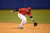 Ball State Cardinals second baseman Ryan Spaulding (5) during a game against the Wisconsin-Milwaukee Panthers on February 26, 2016 at Chain of Lakes Stadium in Winter Haven, Florida.  Ball State defeated Wisconsin-Milwaukee 11-5.  (Mike Janes/Four Seam Images)
