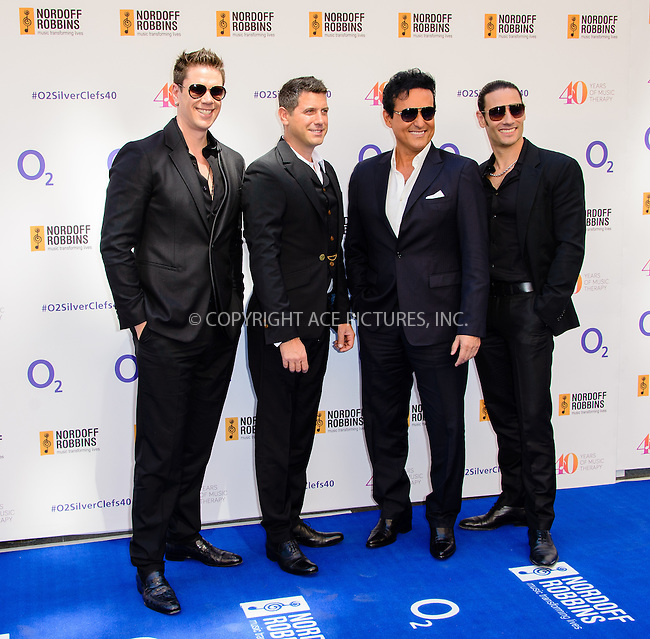 WWW.ACEPIXS.COM<br /> <br /> July 3 2015, London<br /> <br /> Il Divo arriving at the Nordoff Robbins O2 Silver Clef Awards at the Grosvenor House Hotel on July 3 2015 in London. <br /> <br /> By Line: Famous/ACE Pictures<br /> <br /> <br /> ACE Pictures, Inc.<br /> tel: 646 769 0430<br /> Email: info@acepixs.com<br /> www.acepixs.com