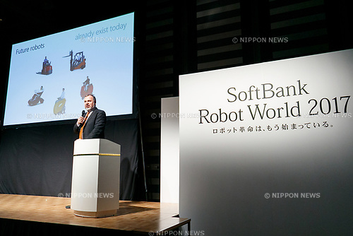 Dr. Eugene M. Izhikevich, co-founder and CEO of Brain Corp. speaks during a news conference for SoftBank Robot World 2017 on November 21, 2017, Tokyo, Japan. SoftBank Robotics organized SoftBank Robot World 2017 to introduce AI (Artificial Intelligence) and IoT (the Internet of Things) companies developing the latest technology for robots, including applications its humanoid robot Pepper in various business fields. The robot expo runs until November 22. (Photo by Rodrigo Reyes Marin/AFLO)