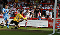 David Bridges of Stevenage Borough scores the first goal during the Blue Square Premier match between Stevenage Borough and York City at the Lamex Stadium, Broadhall Way, Stevenage on Saturday 24th April, 2010..© Kevin Coleman 2010 ..
