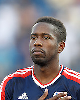 New England Revolution midfielder Clyde Simms (19). In a Major League Soccer (MLS) match, Toronto FC defeated New England Revolution, 1-0, at Gillette Stadium on July 14, 2012.
