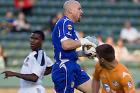 Puerto Rico Islanders goalkeeper Bill Gaudette (1) makes a save in front of the goal. The Puerto Rico Islanders defeated the LA Galaxy 4-1 during CONCACAF Champions League group play at Home Depot Center stadium in Carson, California on Tuesday July 27, 2010.
