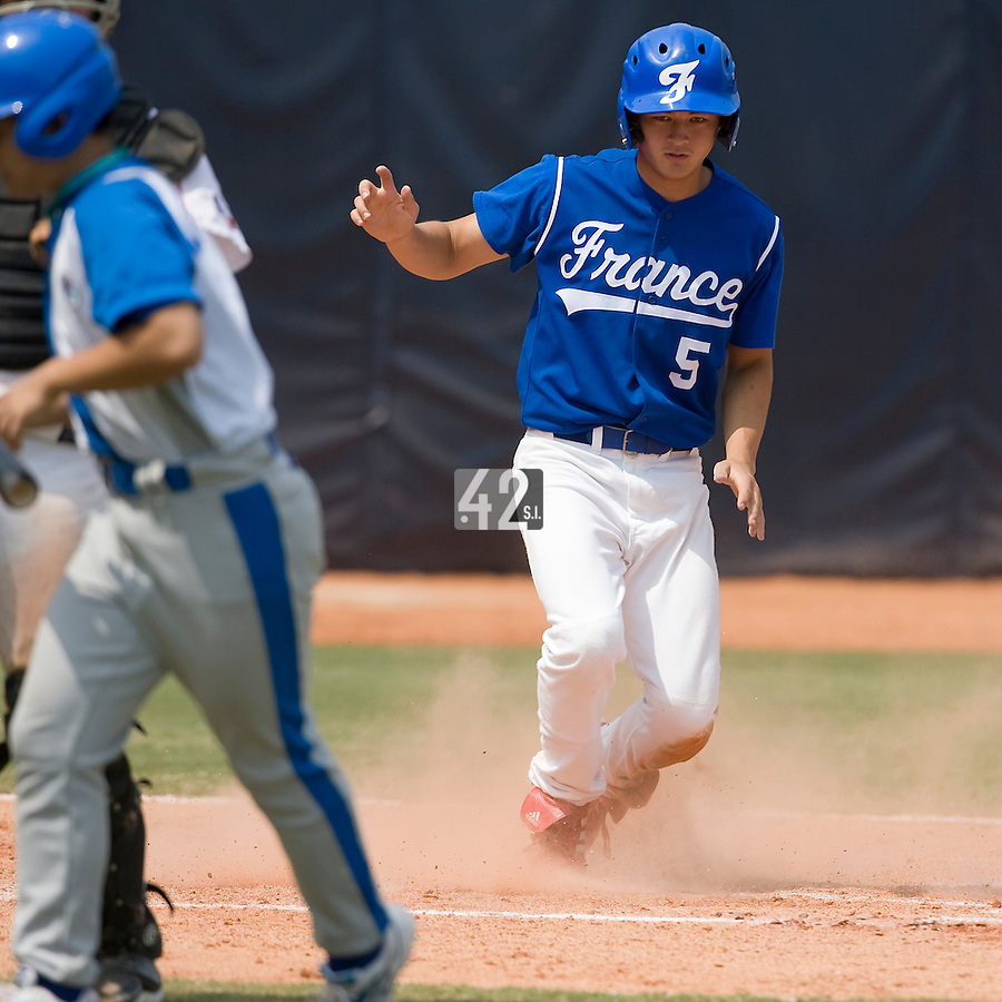 23 August 2007: Center Field #5 Kenji Hagiwara runs during the France 8-4 victory over Czech Republic in the Good Luck Beijing International baseball tournament (olympic test event) at the Wukesong Baseball Field in Beijing, China.