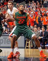 Miami forward Donnavan Kirk (22) during an NCAA basketball game Saturday Feb, 24, 2014 in Charlottesville, VA. Virginia defeated Miami 65-40.