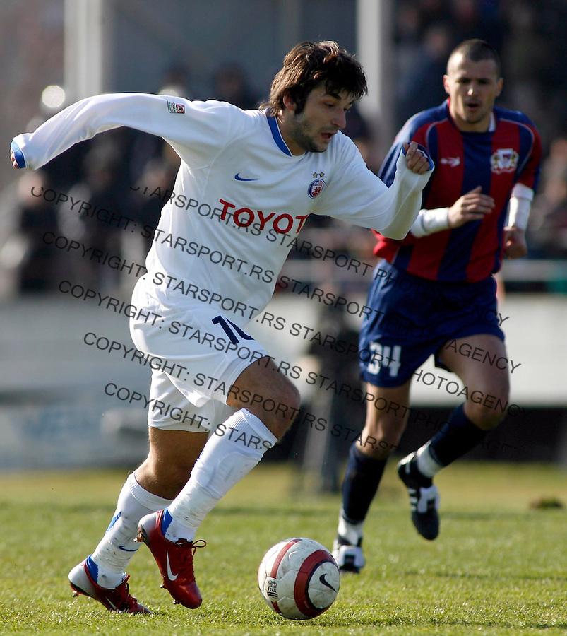 Fudbal, Super liga, season 2006/07<br /> Bezanija Vs. Crvena Zvezda<br /> Igor Burzanovic, left, white T-shirt<br /> Beograd, 18.02.2007.<br /> fotoL Srdjan Stevanovic