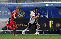 Germany's Salih Ozcan (13) (with the ball) and Belgium's Charles De Ketelelaere (14) in action during a soccer game between the national teams Under21 Youth teams of Belgium and Germany on the 5th matday in group 9 for the qualification for the Under 21 EURO 2021 , on tuesday 8 th of September 2020  in Leuven , Belgium . PHOTO SPORTPIX.BE | SPP | SEVIL OKTEM