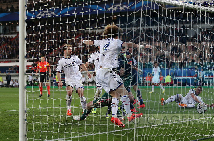 Chelsea's David Luiz scoring an own goal to put PSG 2-1 up<br /> <br /> Paris Saint Germain vs Chelsea - Champions League - Parc Des Princes- Paris - France - 02/03/2014  - Pic David Klein/Sportimage