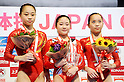 (L-R) Sui Lu (CHN), Koko Tsurumi (JPN), Yao Jinnan (CHN),JULY 3rd, 2011 - Artistic Gymnastics :Koko Tsurumi of Japan stands on the podium with second placed Sui Lu and third placed Yao Jinnan of China after winning the Japan Cup 2011 Women's Individual All-Around Uneven Bars at Tokyo Metropolitan Gymnasium in Tokyo, Japan. (Photo by AZUL/AFLO)