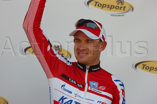 29.03.2012 West Flanders, Belgium. Cycling KBC Driedaagse van De Panne-Koksijde. Picture shows Alexander Kristoff (stage winner)on the podium.