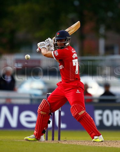 24.06.2016. Old Trafford, Manchester, England. Natwest T20 Blast. Lancashire Lightning versus Worcestershire Rapids. Lancashire Lightning batsman Alviro Petersen was 68 not out as Lancashire Lightning made 149-5 in their 20 overs.