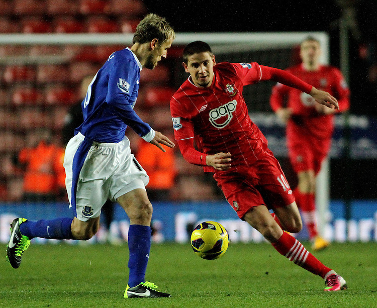 Southampton's Gaston Ramirez on the attack against Everton's Phil Neville..- Credit - CameraSport - James Marsh - ..Football - Barclays Premiership - Southampton v Everton - Monday 21st January 2013 - St Mary's - Southampton..