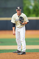 Wake Forest Demon Deacons relief pitcher Parker Dunshee (36) looks to his catcher for the sign against the Virginia Cavaliers at Wake Forest Baseball Park on May 17, 2014 in Winston-Salem, North Carolina.  The Demon Deacons defeated the Cavaliers 4-3.  (Brian Westerholt/Four Seam Images)