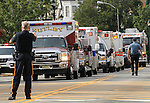 Ambulances and firefighting apparatus line Kearny Avenue outside St. Cecilia's Church in Kearny at the funeral for Manasquan volunteer firefighter Dan McCann. McCann, a firefighter EMT with more than 25 years experience, died last week after a fire department training exercise in Manasquan.  9/21/16  (Andrew Mills | NJ Advance Media for NJ.com)