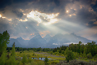 Light beams, Grand Tetons, Grand Teton  National Park<br />