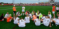 Oregon head coach, Julie Grutzner, talks to her team after a scoreless first half, as Oregon goes on to top Green Bay Southwest 3-0 to win the WIAA Division 2 girls soccer state championship, on Saturday, June 20, 2015 at Uihlein Soccer Park in Milwaukee, Wisconsin