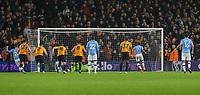 27th December 2019; Molineux Stadium, Wolverhampton, West Midlands, England; English Premier League, Wolverhampton Wanderers versus Manchester City; Raheem Sterling of Manchester City taking a penalty which is saved by Wolverhampton Wanderers Goalkeeper Rui Patricio only for Raheem Sterling to score on the rebound in minute 25 - Strictly Editorial Use Only. No use with unauthorized audio, video, data, fixture lists, club/league logos or 'live' services. Online in-match use limited to 120 images, no video emulation. No use in betting, games or single club/league/player publications