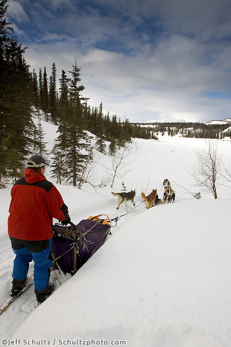 Jessie Royer on Trail to Red Lake outside of Finger Lake Chkpt Iditarod 2005