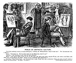 """Perils of Aesthetic Culture. Uncle John (suddenly bursting on newly-wedded pair). """"Hullo, my turtle-doves! What's the row? Not quarrelled yet, I trust?"""" Edwin. """"Oh dear no. We've been going in for high art, that's all."""" Angelina. """"And drawing from casts of the Antique."""" Edwin. """"And Angy's nose turns up so at the end, and she's got such a skimpy waist, and such a big head, and such tiny little hands and feet! Hang it all, I thought her perfection!"""" Angelina. """"Yes, Uncle John; And Edwin's got a long upper lip, and a runaway chin, and he c-c-can't grow a beard and moustache! Oh dear! Oh dear!"""""""