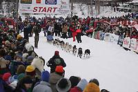 Robert Sorlie  leaves start line during Willow Restart Day.  2005 Iditarod Sled Dog Race