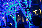 A man takes a picture of the Blue Grotto Shibuya illuminations on November 22, 2017, Tokyo, Japan. Thousands of blue LED lights turn the streets from Yoyogi Park to Koen Dori into a 800-meter cave. The event runs til December 31, 2017. (Photo by Rodrigo Reyes Marin/AFLO)