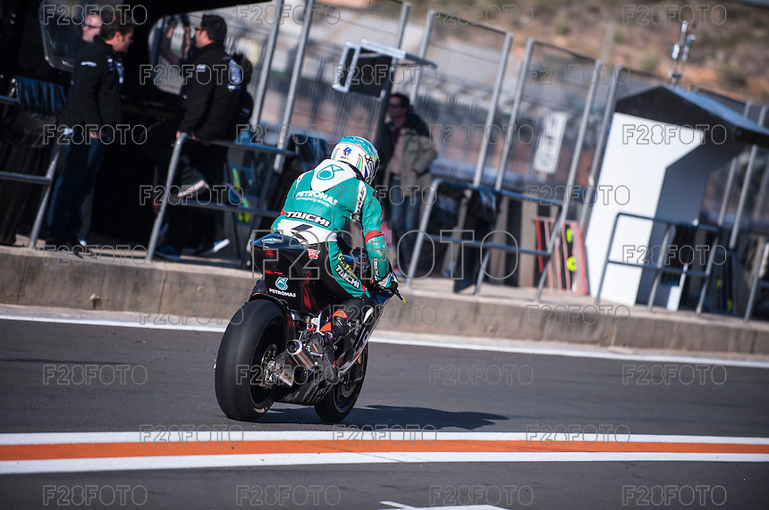 Hafizh Syahrin in pit line at pre season winter test IRTA Moto3 & Moto2 at Ricardo Tormo circuit in Valencia (Spain), 11-12-13 February 2014