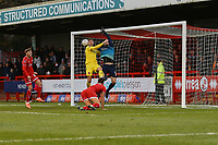 Goal mouth scramble moments before Fleetwood's second goal during Crawley Town vs Fleetwood Town, Emirates FA Cup Football at Broadfield Stadium on 1st December 2019