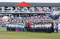 The Officials, players and mascots parade for the National Anthems before the fixture between England vs New Zealand, ICC World Cup Cricket at The Riverside Ground on 3rd July 2019