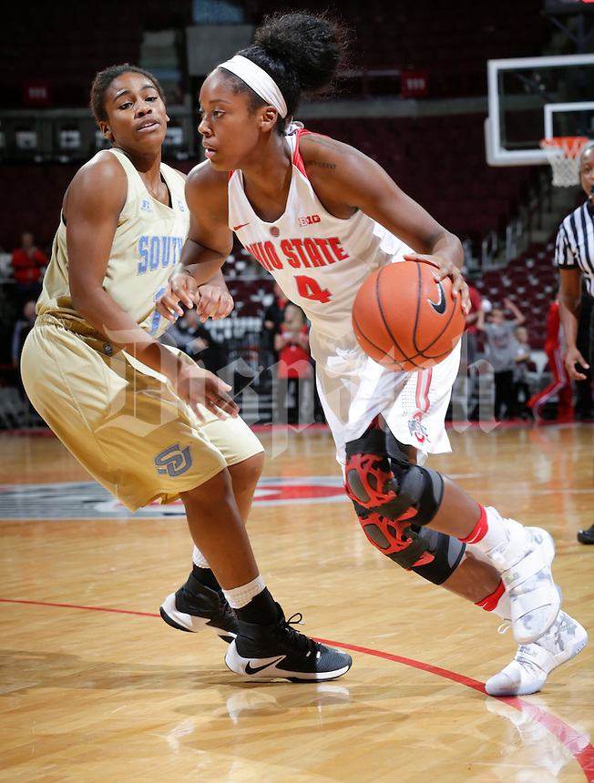 Ohio State Buckeyes guard/forward Sierra Calhoun (4) looks for space during the fourth quarter of a NCAA women's basketball game between the Ohio State Buckeyes and the Southern University Jaguars on Wednesday, December 7, 2016 at Value City Arena in Columbus, Ohio. (Joshua A. Bickel/The Columbus Dispatch)