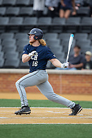 Coleman Poje (16) of the Georgia Tech Yellow Jackets follows through on his swing against the Wake Forest Demon Deacons at David F. Couch Ballpark on March 26, 2017 in  Winston-Salem, North Carolina.  The Demon Deacons defeated the Yellow Jackets 8-4.  (Brian Westerholt/Four Seam Images)