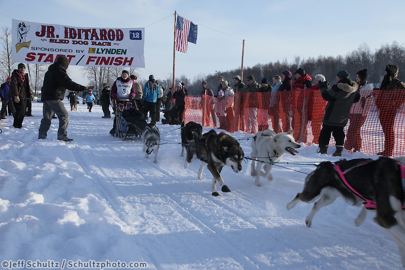 Saturday February 25, 2012   at Knik Lake during the Junior Iditarod start.   Chelsea Davis.