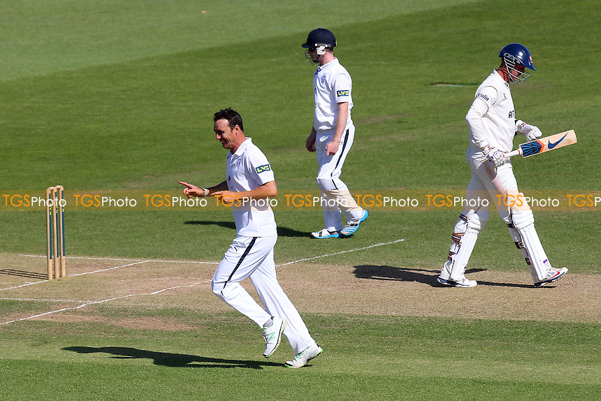 Delight for Kyle Abbott (L) of Hampshire as he claims the wicket of David Masters (R) - Hampshire CCC vs Essex CCC - LV County Championship Division Two Cricket at the Ageas Bowl, West End, Southampton - 17/06/14 - MANDATORY CREDIT: Gavin Ellis/TGSPHOTO - Self billing applies where appropriate - 0845 094 6026 - contact@tgsphoto.co.uk - NO UNPAID USE