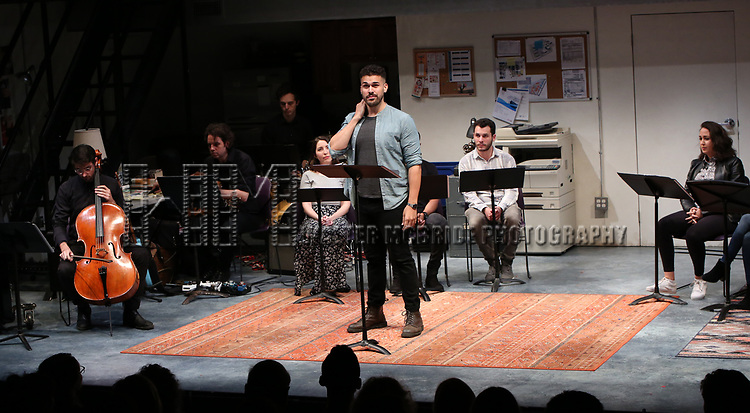 "Joel Perez with the cast of ""Borders"" during the 2018 Presentation of New Works by the DGF Fellows on October 15, 2018 at the Playwrights Horizons Theatre in New York City."