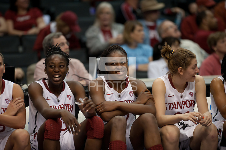 LOS ANGELES, CA - March 11, 2011:  Stanford's Chiney Ogwumike (l) and Nnemkadi Ogwumike enjoy late game action during the semi-final game of the 2011 Pac-10 Tournament game against the Arizona Wildcats at Staples Center.  Stanford won, 100-71.  The Ogwumike sisters combined for 53 points and 23 rebounds.