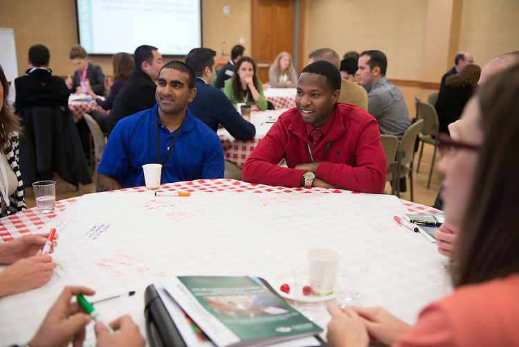 Curtis McKinnon and Vijay Reddy enjoy conversation at the Ohio MBA Professional Development Workshop in partnership with the Robert D. Walter Center for Strategice Change. Photo by Olivia Wallace