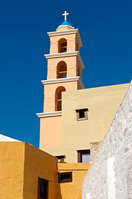 Bell tower of the Catholic church of Ano Syos,  Syros [ ????? ] , Greek Cyclades Islands