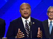United States Representative Andre Carson (Democrat of Indiana) makes remarks during the third session of the 2016 Democratic National Convention at the Wells Fargo Center in Philadelphia, Pennsylvania on Wednesday, July 27, 2016.<br /> Credit: Ron Sachs / CNP<br /> (RESTRICTION: NO New York or New Jersey Newspapers or newspapers within a 75 mile radius of New York City)