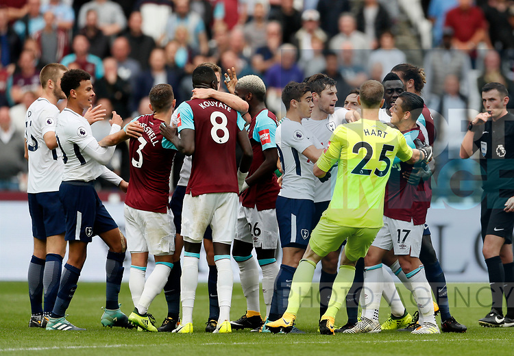 West Ham's and Tottenham's players square up to each other during the premier league match at the London Stadium, London. Picture date 23rd September 2017. Picture credit should read: David Klein/Sportimage