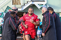 Jersey Red players enter the field of play for the Greene King IPA Championship match between Ealing Trailfinders and Jersey Reds at Castle Bar , West Ealing , England  on 22 December 2018. Photo by David Horn.