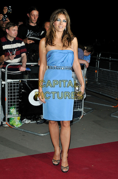 ELIZABETH HURLEY.The GQ Men Of The Year Awards 2009 held at the Royal Opera House, Covent Garden, London, England..8th September 2009.full length blue strapless dress liz silver belt clutch bag.CAP/PL.©Phil Loftus/Capital Pictures.