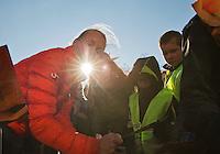 Februari 06, 2015, Apeldoorn, Omnisport, Fed Cup, Netherlands-Slovakia, Draw, Cityhall, streettennis with  Kiki Bertens signing aurographs<br /> Photo: Tennisimages/Henk Koster