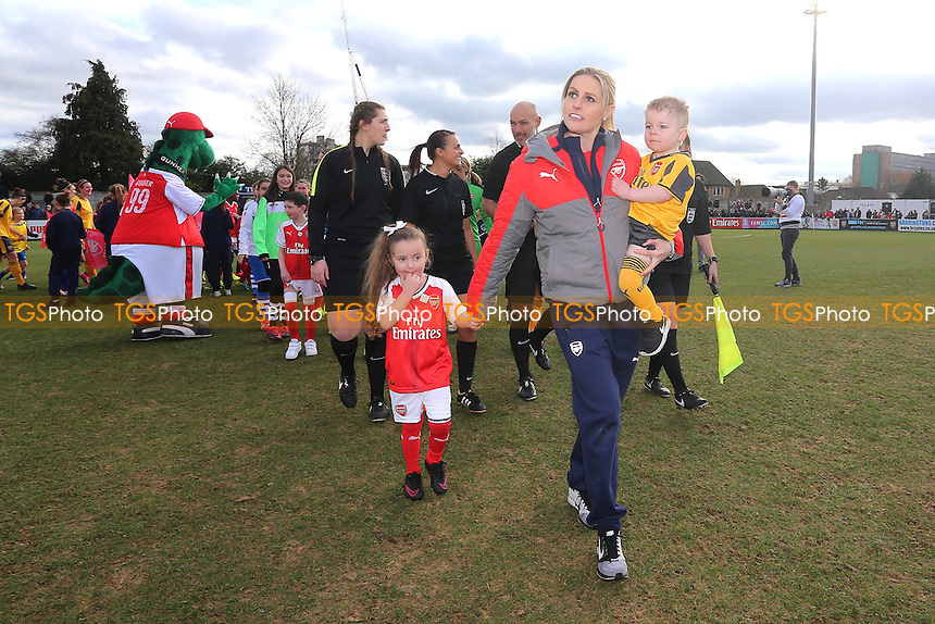 Kelly Smith leads the teams out during Arsenal Ladies vs Kelly Smith's All Star XI, Kelly Smith's Celebration Match Football at Meadow Park on 19th February 2017