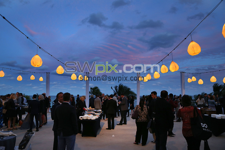 Picture by Vaughn Ridley/SWpix.com - 19/20/21 01/2016 - Natpe Miami 2016, Eden Roc and Fountainebleau hotels South Beach<br /> Attendees enjoy drinks prior to the Brandon Tartikoff Legacy Awards.<br /> copyright picture - Simon Wilkinson - simon@swpix.com