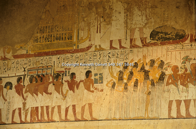 Painted scene of Mourners; Tomb of Ramose; Vizier under Amenhotep III and Akhenaten, Tutankhamun and the Golden Age of the Pharaohs, Page 125