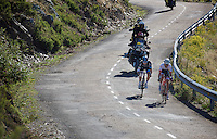 Nicolas Roche (IRL/SKY) &amp; Haimar Zubeldia (ESP/Trek Factory Racing) leading the race and rushing down the last descent towards the finish<br /> <br /> stage 18: Roa - Riaza (204km)<br /> 2015 Vuelta &agrave; Espana